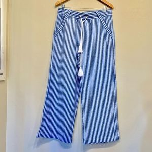 Jolt Striped Blue and White Linen Pants